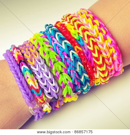 Colorful Rubber Rainbow Loom Band Bracelets On Wrist