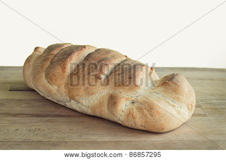Loaf Of Whole Wheat Bread Isolated On White. Retro Look