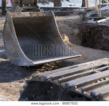 Outside construction works composition of excavator shovel