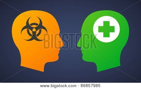 Head Set With A Biohazard Sign And A Pharmacy Sign