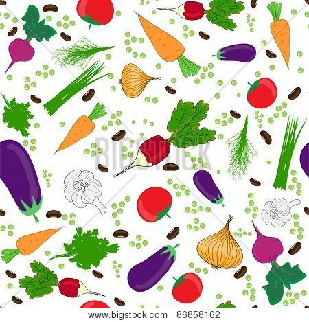seamless pattern on a white background , vegetables