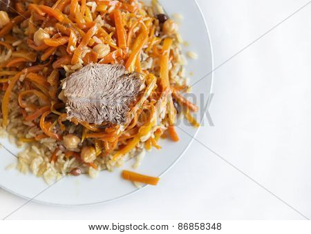 Authentic pilaf from Bukhara, Uzbekistan