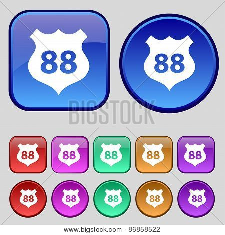 Route 88 Highway Icon Sign. A Set Of Twelve Vintage Buttons For Your Design. Vector