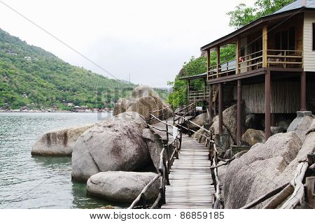 View of Koh Nanguan, Thailand, plank bridge to viewpoint.