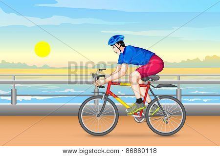 Man cycling for fitness
