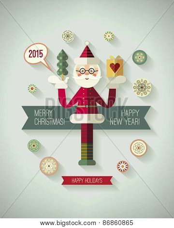 Merry christmas and happy new year greeting postcard. Christmas