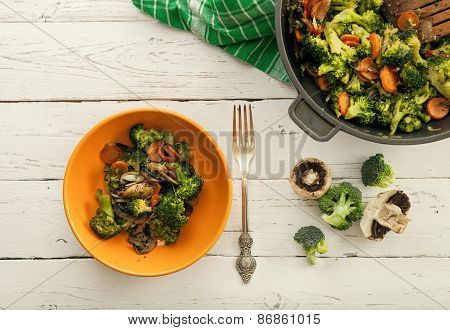 Background With Fresh Prepared Vegetable Mix Dish