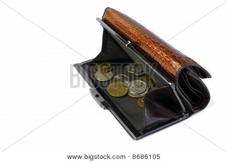 Wallet With Russian Coins | Isolated