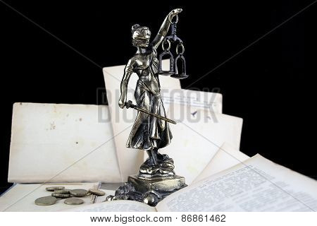 Justice Lady, Old Books And Euro Coins. Lawyer Background