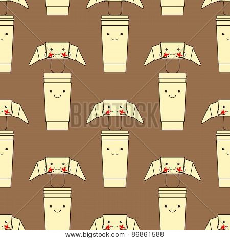 Pattern With Funny Croissant And Take Away Coffee Cup