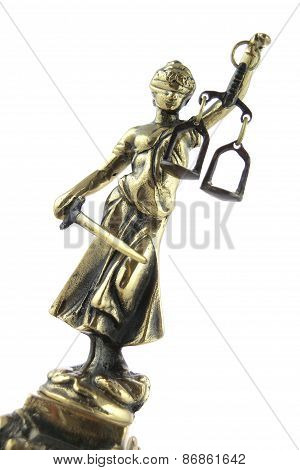 Justice Statue On White. Lawyer Background