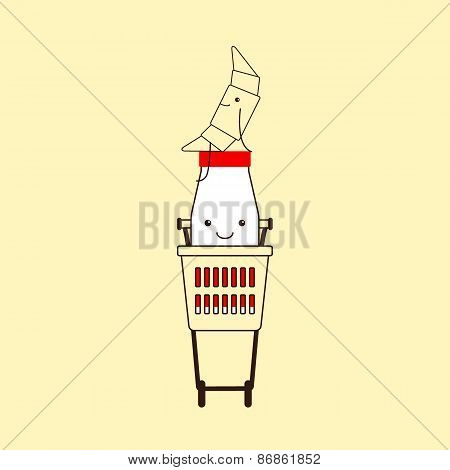 Milk Bottle And Croissant In Shopping Basket