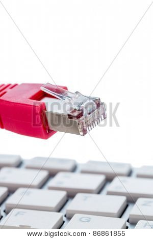 network cable on keyboard symbol photo for this pc, e-commerce, global communication