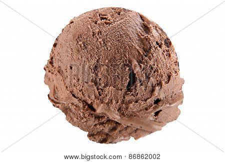 Scoop of chocolate ice cream on white background with clipping path