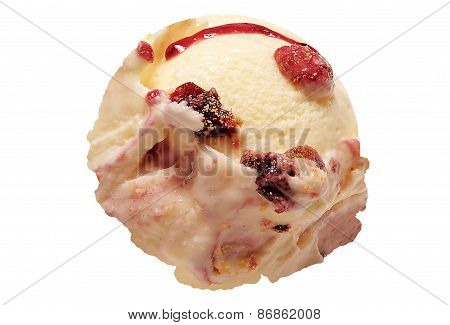 Scoop of cheesecake ice cream on white background with clipping path