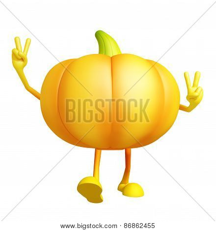 Pumpkin Character With Win Pose