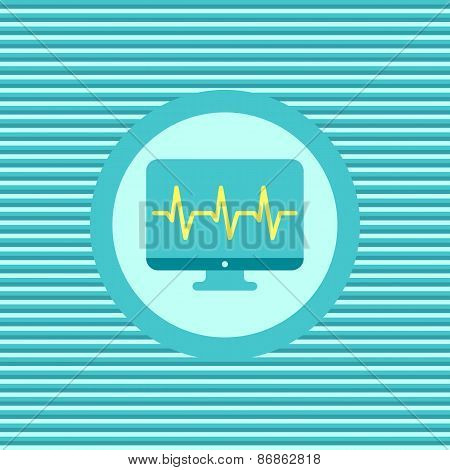 Monitor Cardiogram Color Flat Icon