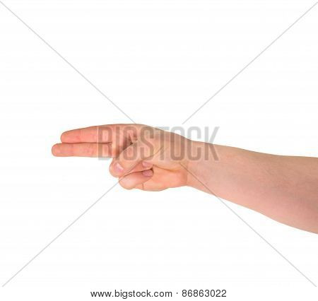 Pointing pistol-like hand gesture isolated