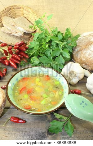 Asian Chicken Consomme With Parsley