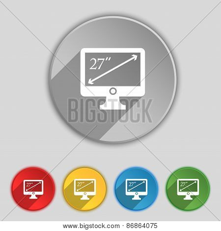 Diagonal Of The Monitor 27 Inches Icon Sign. Symbol On Five Flat Buttons. Vector