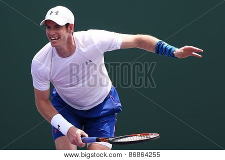 KEY BISCAYNE, FL-MAR 26: Andy Murray of Great Britain practices during day four at the Miami Open at Crandon Park Tennis Center on March 26, 2015 in Key Biscayne, Florida.