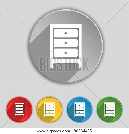 Nightstand Icon Sign. Symbol On Five Flat Buttons. Vector