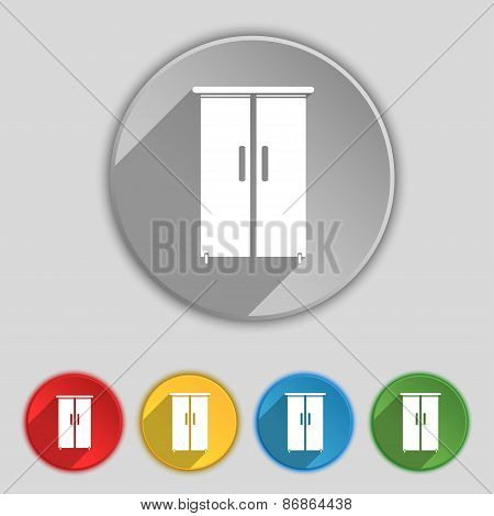 Cupboard Icon Sign. Symbol On Five Flat Buttons. Vector