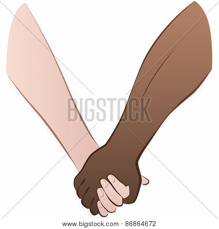 Interracial Love Couple Holding Hands