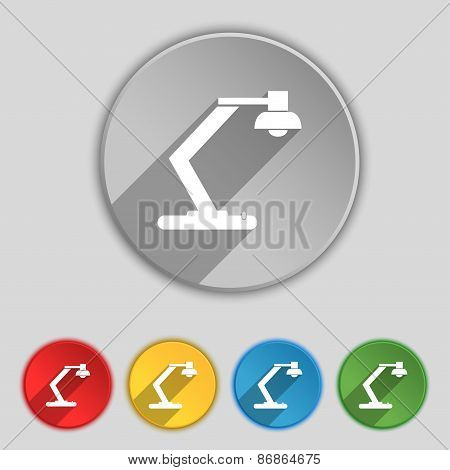 Light, Bulb, Electricity Icon Sign. Symbol On Five Flat Buttons. Vector