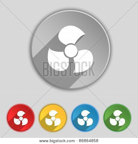 Fans, Propeller Icon Sign. Symbol On Five Flat Buttons. Vector