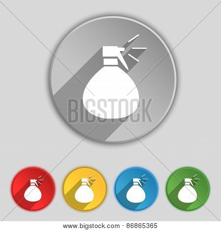 Plastic Spray Of Water Icon Sign. Symbol On Five Flat Buttons. Vector