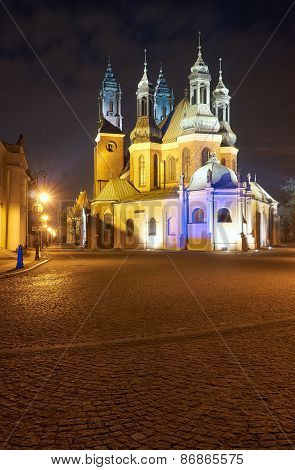 Gothic cathedral towers at night