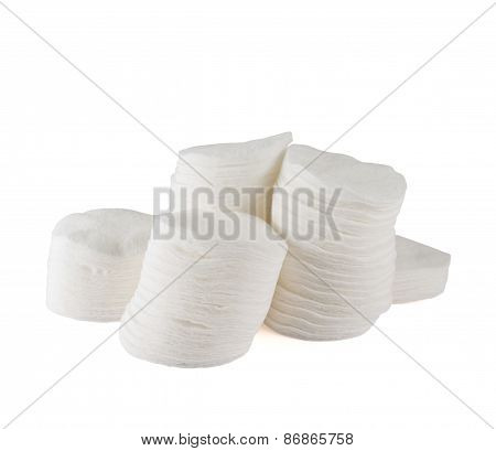 Stack of cotton pad disks isolated