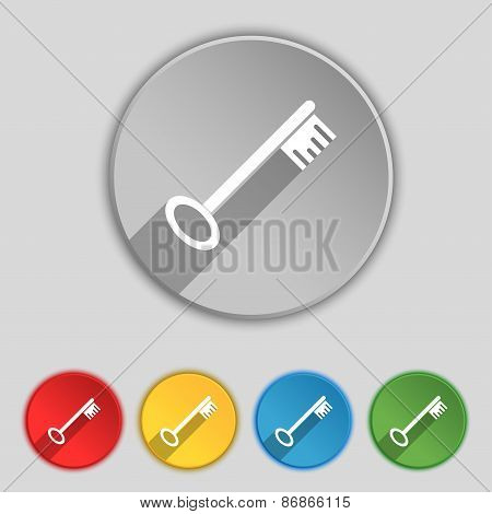 Key Icon Sign. Symbol On Five Flat Buttons. Vector