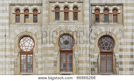 The Facade Of The Building Railway Station In Baku