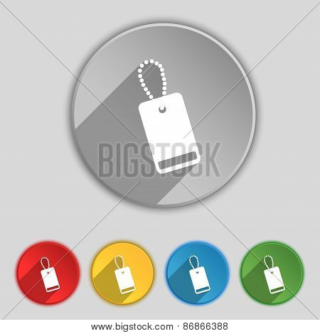 Army Chains Icon Sign. Symbol On Five Flat Buttons. Vector