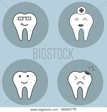 teeth set. Dental collection for your design. Vector cartoons. Illustrations for children dentistry.