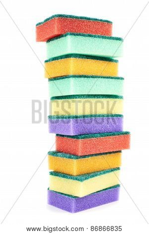 Pile of kitchen sponges