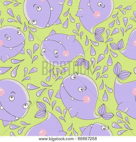 Funny whale, vector seamless pattern.