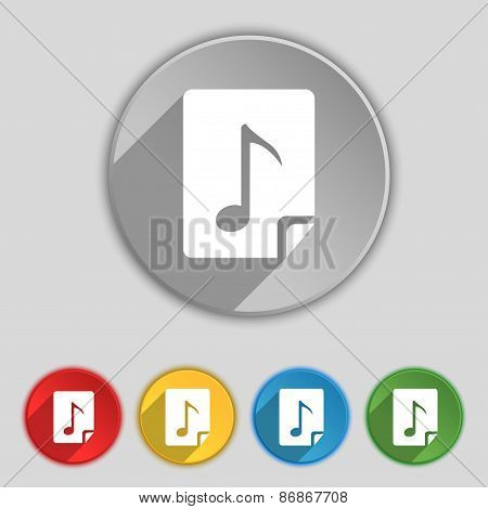 Audio, Mp3 File Icon Sign. Symbol On Five Flat Buttons. Vector