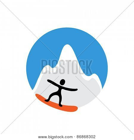 free ride, snowboarder and snowy mountain , vector logo illustration