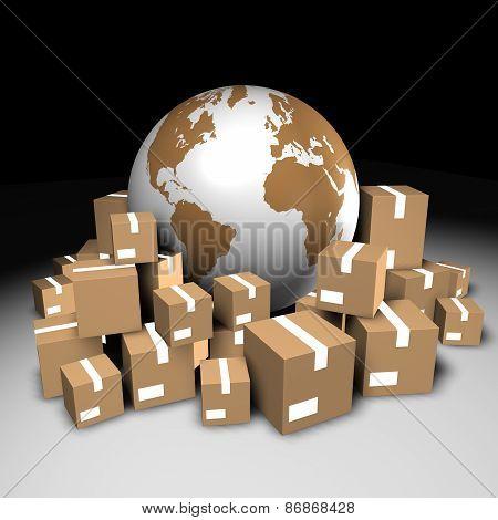 Globe And Cardboard Boxes