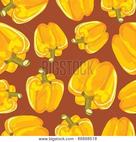 Yellow bell pepper vector seamless background.