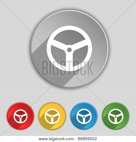 Steering Wheel Icon Sign. Symbol On Five Flat Buttons. Vector