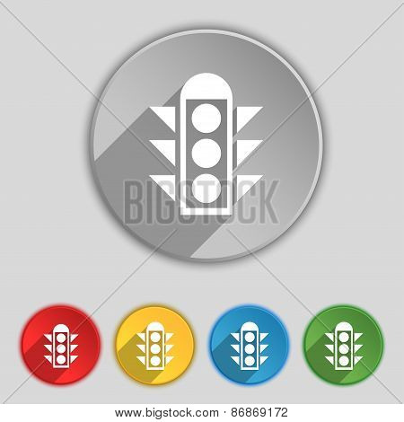 Traffic Light Signal Icon Sign. Symbol On Five Flat Buttons. Vector