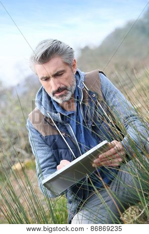 Agronomist using tablet and checking on vegetation