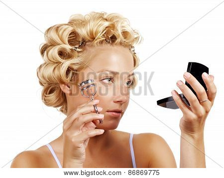 Woman With Lash Curler