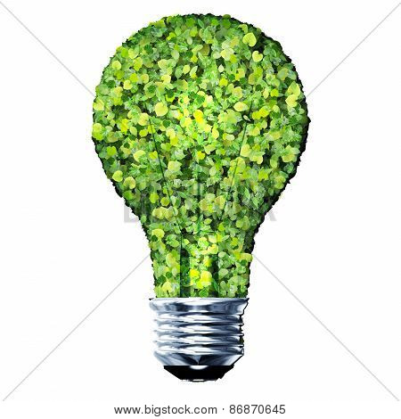 Eco bulb made from green leaves.
