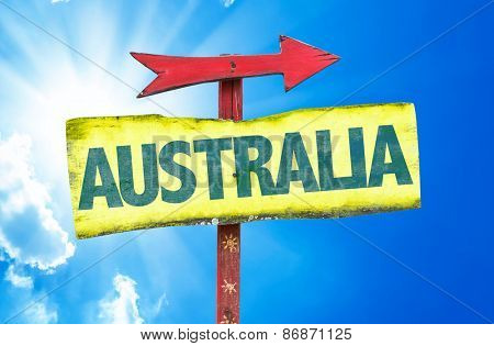 Australia sign with sky background