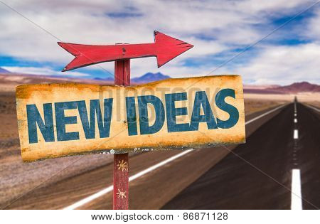 New Ideas sign with road background